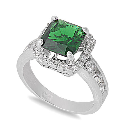 .925 Sterling Silver Princess Cut Emerald CZ Cocktail Promise Ring Size 5-9 NEW
