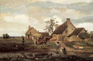 Art Oil painting Corot - Landscape A Farm in the Nievre with carriage canvas 36""