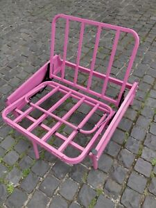 Single Futon Metal Sofa Bed Pink