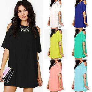 Plus-Size-Womens-Boho-Off-Shoulder-Blouse-Shirt-Chiffon-Mini-Summer-Dress-Tops