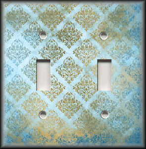 Metal Light Switch Covers Vintage Design Decor Blue And Gold