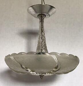 """Antique 1930s Art Deco Glass Ceiling Light Lamp Fixture Chandelier 15"""""""
