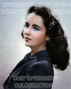 ELIZABETH TAYLOR YOUNG PORTRAIT #1 BEAUTIFUL COLOR PHOTO ...