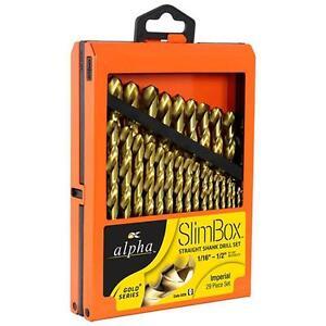 Qty-1-Alpha-Slimbox-29-Piece-Imperial-Drill-Set-Gold-Series-Titanium-Nitride-HSS
