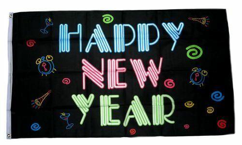 Fahne Happy New Year black Hissflagge 90 x 150 cm Flagge