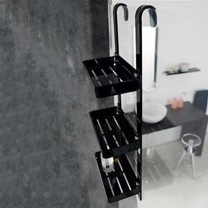 Portaoggetti a 3 ripiani in plexiglass nero per box doccia design bagno