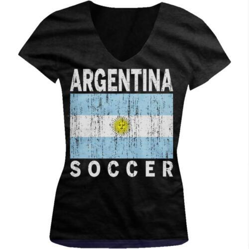 Argentina Flag Soccer Futbol Argentine Pride Bandera Juniors V-neck T-shirt