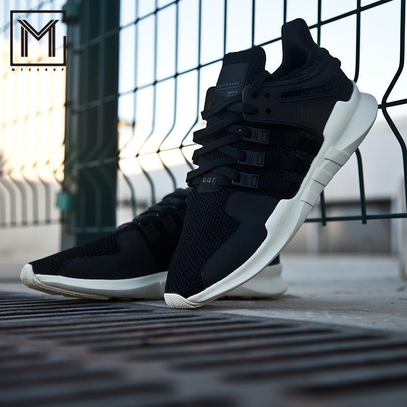 Neue sz-9.5 mens adidas originals eqt unterstützung adv laufen / trainingsschuhen schwarz