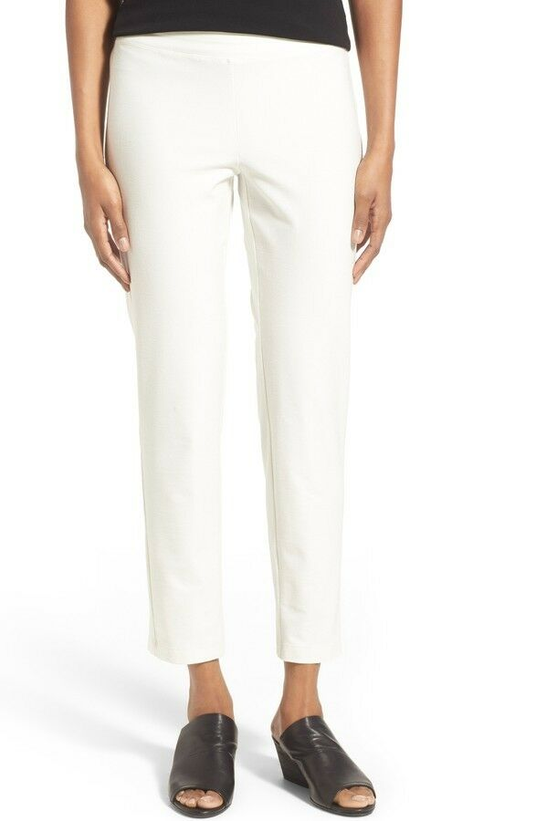 NWT EILEEN FISHER Crepe Knit Slim Ankle Pants in Bone - Size XL   P7