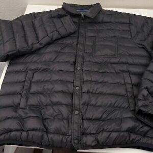 Slate & Stone Snap Button Quilted Nylon Down Puffer Jacket Men's 2XL XXL Black