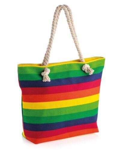 Large Rainbow Print Design Rope Handle Bag with Zip Closure /& Inner Pocket
