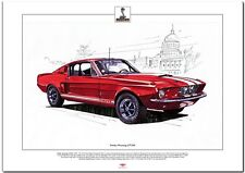 FORD SHELBY MUSTANG GT350 - Fine Art Print  A3 size - 1967 Classic V8 Muscle Car