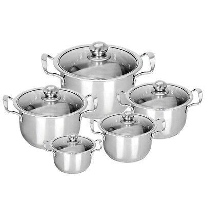Useful Stainless Steel 5pc Cookware Casserole Stockpot Pot Hob Set With Glass Lids Reputation First Pots & Pans