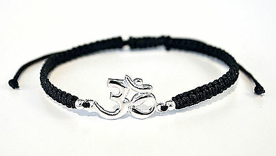 "925 Sterling Silver Ohm Symbol Black Shamballa Bracelet Adjustable 6""-9"""