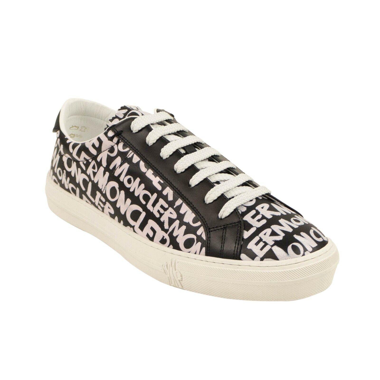NIB MONCLER Black/White 'New Monaco' Logo Sneakers Shoes Size 7/40