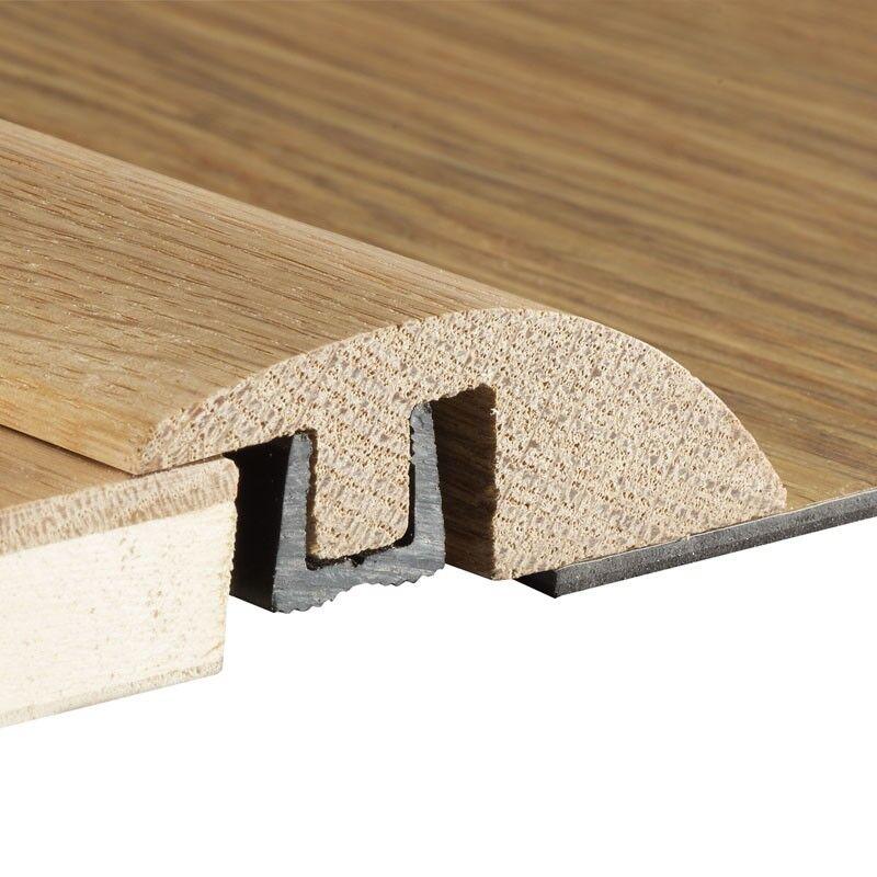 Medium Grey Solid Oak Carpet to Wood Flooring Ramp Trim Door Threshold Bar Strip