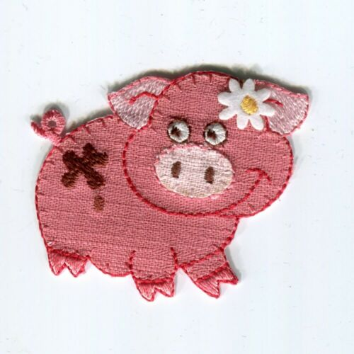 Linen Look Motif Farm Animals Iron Or Sew On Patch Daisy Flower