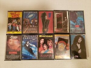 Lot of 10 Vintage 80's Pop Rock Cassette Tapes Top Artists