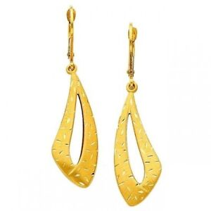Details About 14kt Solid Yellow Italian Gold Fancy Dangle Hanging Earrings