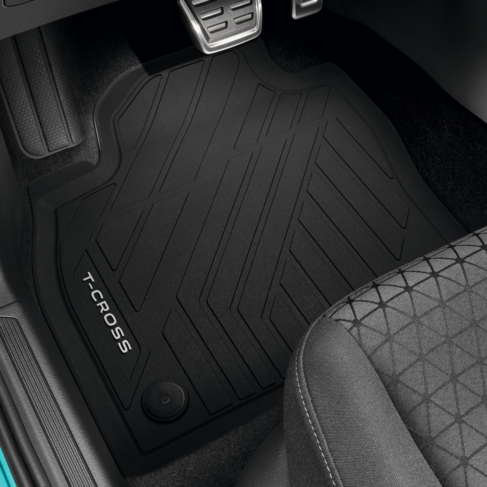 mit T-Cross Schriftzug Volkswagen 2GM06150082V Premium Gummi Fu/ßmatten Gummimatten Allwettermatten schwarz