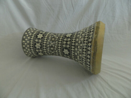 """Egyptian Mother of Pearl Wooden Drum-Tabla-Doumbeck 8.5/"""" Head and 17/"""" High Sale!"""