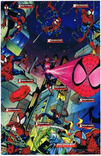 1994 Fleer Marvel Cards Masterprints Powers Amazing SpiderMan Promo Uncut Sheet