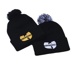 6efef6b66dbff Winter WU-TANG CLAN Beanie Skullies Knitted Hat HipHop Warm pompom ...