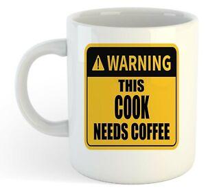 Warning-Esta-Cook-Necesita-Cafe-Blanco-Taza-Regalo-Trabajo-Regalo