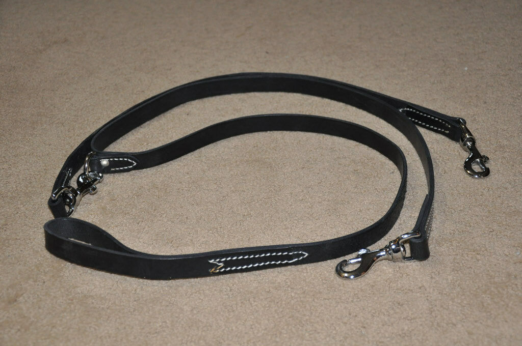 Double 2 Way Leather 6 feet Dog Leash Lead  Amish Made Split Lead