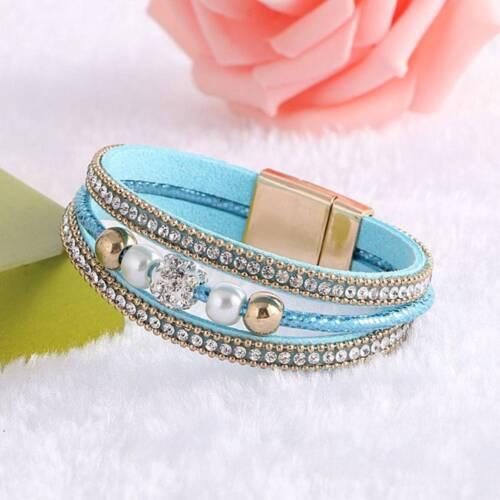 Punk Fermoir Magnétique Multicouche en cuir Perles Cristal Femme Bracelet Bijoux