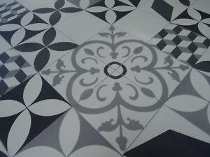 Relativ PVC Bodenbelag im Retro-Design Fliesen weiß/grau 400 cm Breite pro HJ35
