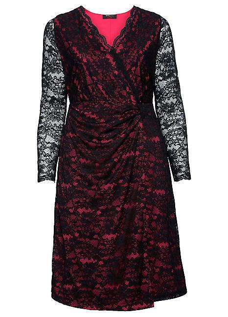 SHEEGO schwarz Wrap Over Layerot Look Dress PLUS Größe US 18 (WB27)