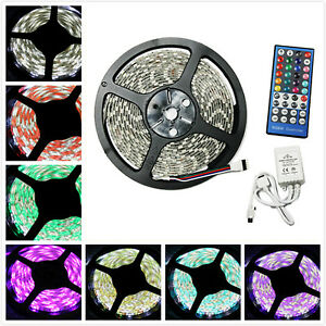 16-4ft-RGB-W-White-5050-300-Waterproof-LED-Strip-Light-Remote-Controller-Power