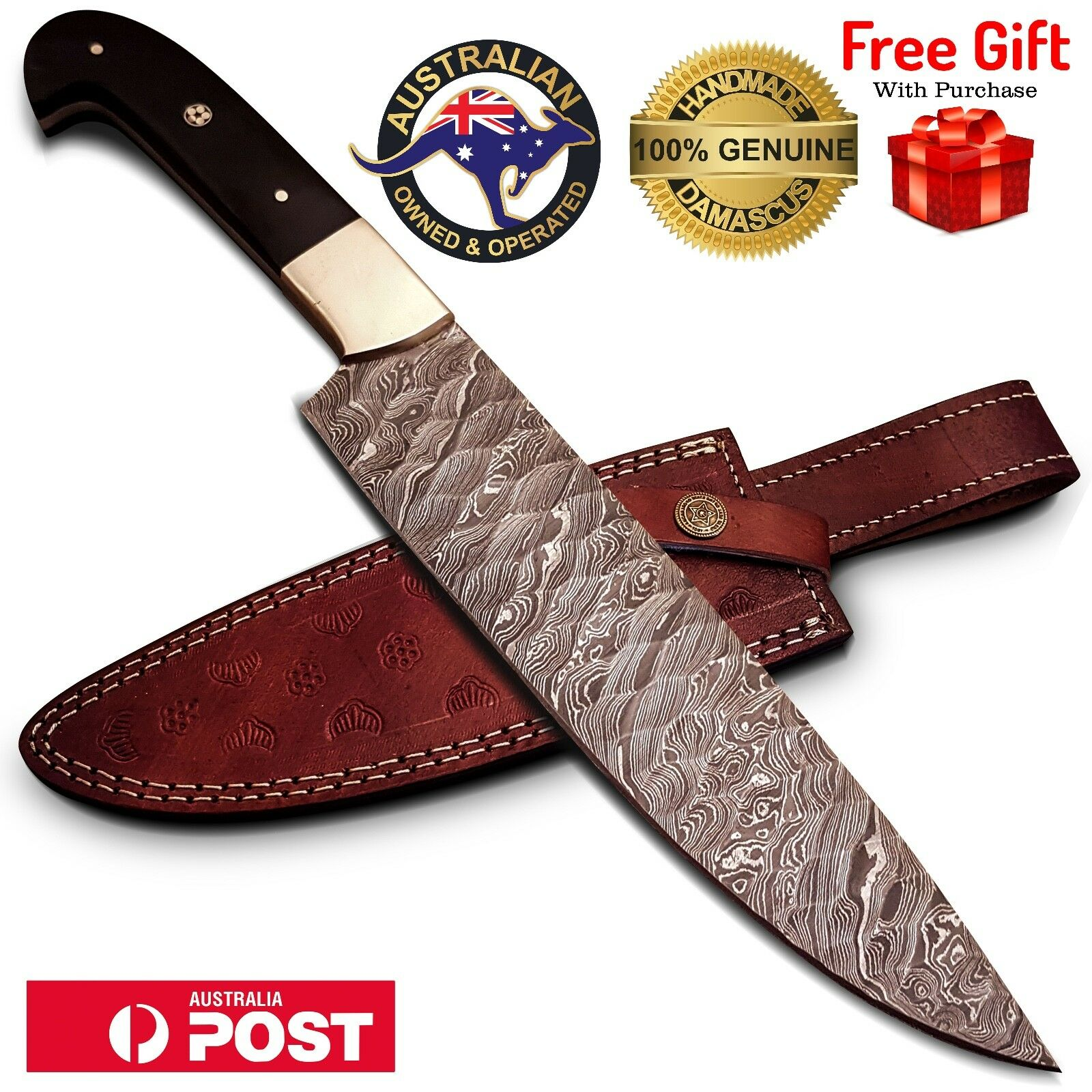 8  Handmade Damascus Steel Kitchen Chef Knife, Bull Horn Handle, Leafher Sheath
