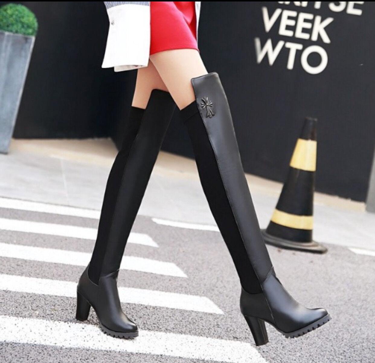 4adc28aea1b ... botas altas invierno cómodo mujer talón plataforma 8 cm negro como piel  8934 ...
