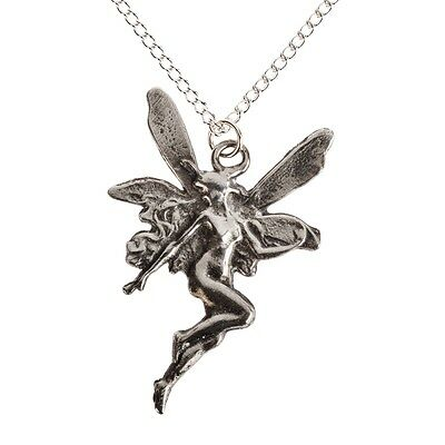 Ideal 10th Wedding Anniversary Gift. Tin Pewter Angel / Fairy Pendant Necklace