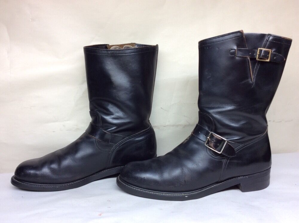 1 MENS HYTEST STEEL TOE ENGINEER MOTORCYCLE nero stivali Dimensione 12 D