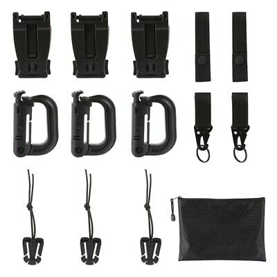 2pcs Black Tactical MOLLE Strong Webbing Belt Strap with D-Ring Hook /& Loop
