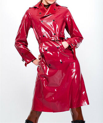 Latex Rubber Gummi Red Fashion Coat Beautiful Uniform Suit Size XS~XXL