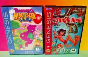 Jungle-Book-Barney-039-s-Hide-amp-Seek-Sega-Genesis-2-Games-Tested-Free-Shipping