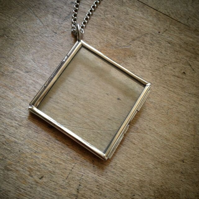Two sided square diamond geometric silver glass frame necklace two sided square diamond geometric silver glass frame necklace pendant chain aloadofball Choice Image