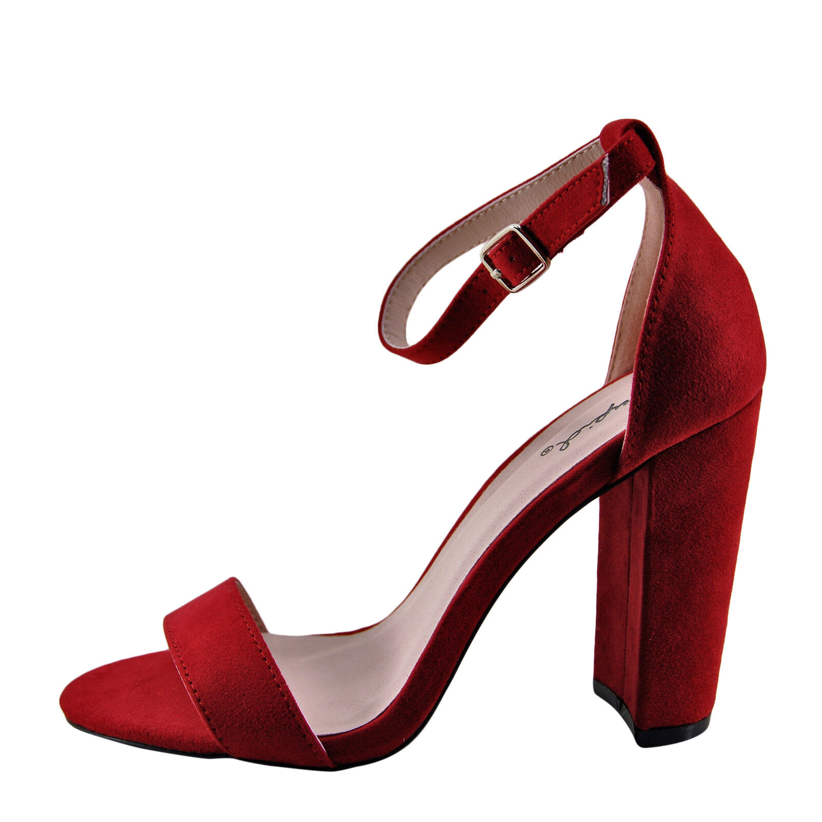1ce54e75a9b8e9 Qupid Cashmere 01 Red Suede Women s Open Toe Ankle Strap Heel