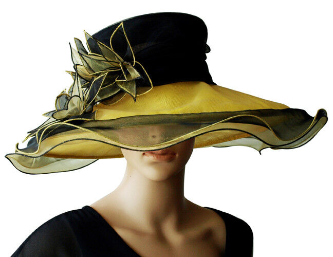Eleganter Damenhut SCHWARZ GELB Lilie Organza Hut Brauthut Organzahut Hochzeit Hochzeit Hochzeit | Spielzeugwelt, fröhlicher Ozean  | Sale Online Shop  | Qualität  fe14cc