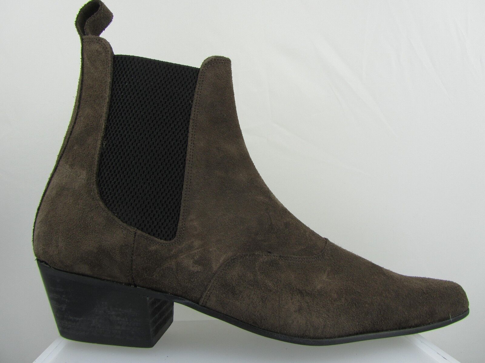 Retro Mens Brown Suede Chelsea Beat Boots Cuban Heel Beatle Pointed Toe