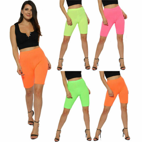 New Womens 80/'s Disco Party Style Neon Stretchy YOGA Gym Dance Cycling Shorts