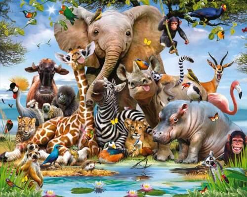 Fototapete Kinderzimmer Dschungeltiere Wildtiere Dschungel Safari 2,44 x 3,05 m