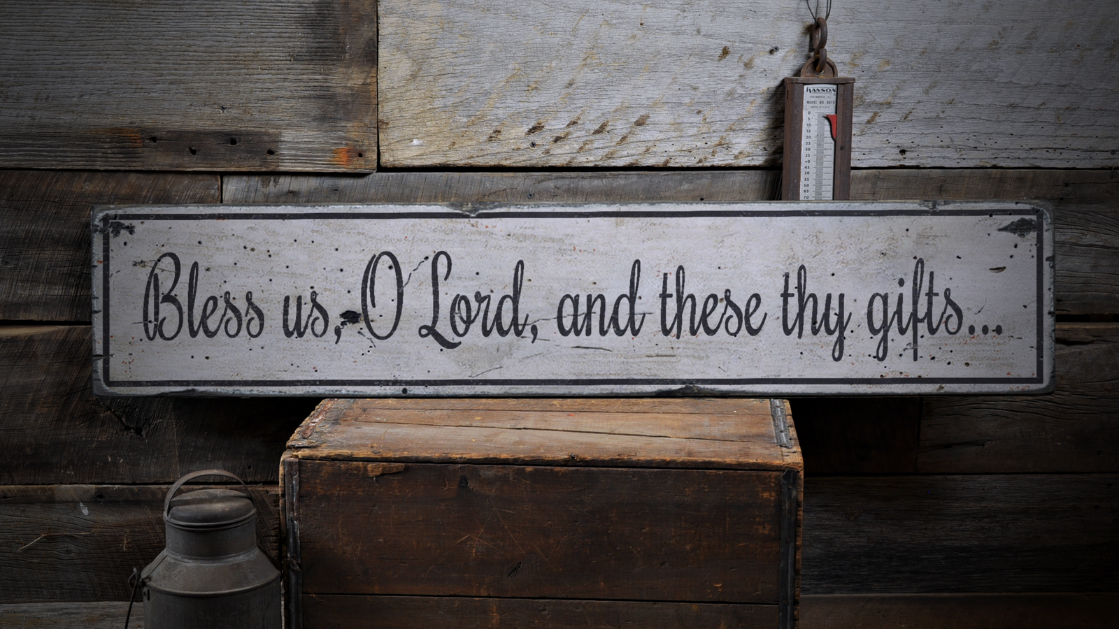 Bless Us O Lord, And These Thy Gifts - Rustic Distressed Wood Sign ENS1000854