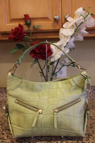 Dooney & Bourke Lime Green Embossed Leather Hobo S