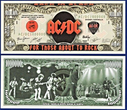 1 AC//DC Music Classic Rock Band Dollar Bill  W// clear protector sleeve F2
