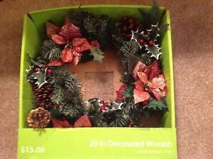 Details About Artificial Walmart Christmas Wreath 20 Inch Red Green Gold In Orig Box